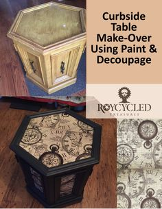This curbside find was upcycled using Roycycled Decoupage Paper and paint. For … – Diy Thrift Store Crafts Cheap Furniture Makeover, Diy Furniture Renovation, Recycled Furniture, Painted Furniture, Garden Furniture, Flip Furniture, Porch Furniture, Furniture Stores, Antique Furniture