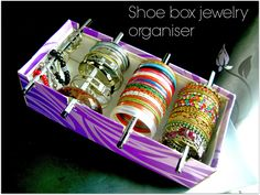 Quickly convert an empty shoe box into a handy bracelet organizer with this DIY by Alternate Creations.