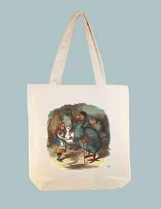 Alice and Wonderland Do-do Bird 15x15 Canvas Tote -- larger zip top tote and personalization available