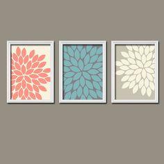 Beige Cream Turquoise Coral Navy Flower Burst Dahlia Bloom Artwork Set of 3 Trio Prints WALL Decor ART Picture Bedroom Bathroom Three