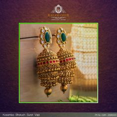Best Gold, Diamond & Platinum Jewellery Showroom Brands in India Gold Jhumka Earrings, Jewelry Design Earrings, Gold Earrings Designs, Gold Jewellery Design, Handmade Jewellery, Diamond Jhumkas, Big Earrings, Antique Earrings, Antique Jewellery