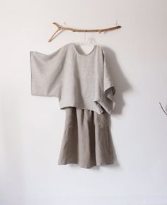 Natural linen outfit kimono sleeve top shirred waist gaucho handmade to measure by annyschoo