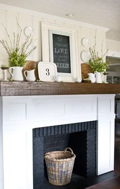 Brick fireplace makeover-- love the wood mantle top Fireplace Redo, Faux Fireplace, Fireplace Remodel, Fireplace Ideas, Mantle Ideas, Fireplace Makeovers, Simple Fireplace, Unused Fireplace, Cottage Fireplace