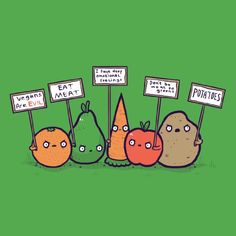 'Protesting Vegans' Funny Vegetables w/ Protest Signs Against Vegans - Vinyl Sticker