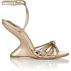 Salvatore Ferragamo Women's Sculpted-Heel Leather Ankle-Strap Sandals (€670) ❤ liked on Polyvore featuring shoes, sandals, gold, open toe wedge sandals, strappy leather sandals, strap wedge sandals, strappy sandals and leather criss cross sandals #goldanklestrapsheels #strappysandalsheels