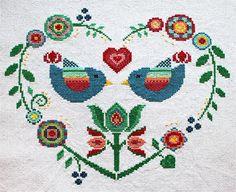 Cross stitch pattern, heart needlepoint, birds sampler, folk art by LaMariaCha on Etsy https://www.etsy.com/listing/214772476/cross-stitch-pattern-heart-needlepoint