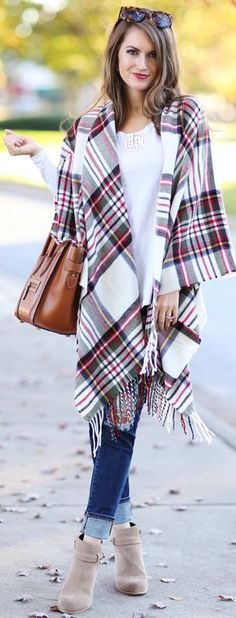 Plaid Poncho Fall Streetstyle Inspo by Southern Curls and pearls