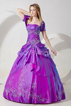 fancyflyingfox.com Offers High Quality Strapless Neckline Ball Gown Full Length Regency Quinceanera Dresses With Short Sleeves Bolero  ,Priced At Only US$225.00 (Free Shipping)