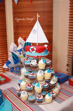 Nautical Birthday cake and cupcakes
