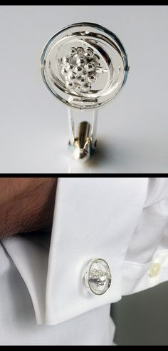 Interactive Atom Cufflinks - The Argon Atom - with moving parts. #argon #atom #cufflinks #interactive