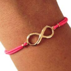 Armbandje Infinity - Fluo Roze & Goud