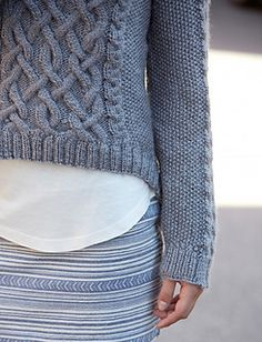 Hi-Lo pullover (XS-5XL) - nice cables in a free pattern by Vickie Howell