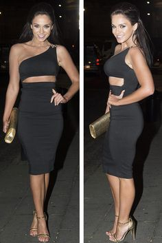 Black One Shoulder Slash Midi Dress   Rare London