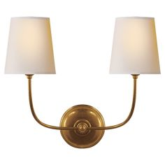 Berkshire Double Sconce With White Linen Shades Sconces Hallway Lighting Wall Sconces