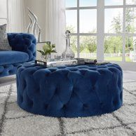 Bring casual seating to your living room or den with this playful ottoman. Boasting the button tufted accents, it allows for breathing space while you relax and limits the amount of heat that is generated. Pouf Ottoman, Blue Coffee Tables, Large Ottoman Coffee Table, Blue Velvet Couch, Cocktail Ottoman, Decorating Coffee Tables, Living Room, Walmart, Round Button