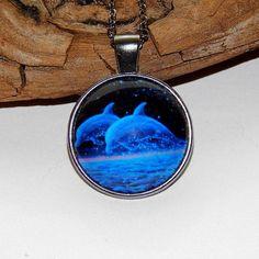 Dolphin pendant nekclace jewelry glass cabochon от ViaLatteaArt