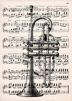 Digitaldruck - Trompete Druck - 1900 Original Notenblatt - ein Designerstück von VintageLite bei DaWanda