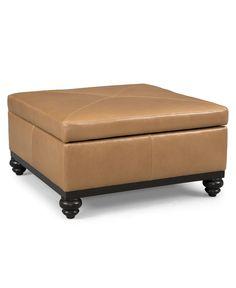 "Martha Stewart Leather Square Storage Cocktail Ottoman, Club 36""W x 36""D x 17""H - Ottomans - furniture - Macy's"