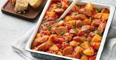 Mop up all the goodness of this hearty sausage and potato casserole with warm garlic bread.