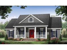 Country House Plan with 1870 Square Feet and 3 Bedrooms from Dream Home Source | House Plan Code DHSW075789