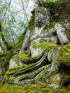 Neptune's statue in Bosco Sacro Gardens, Bomarzo, Italy. From Old Moss Woman's Secret Garden ~ facebook