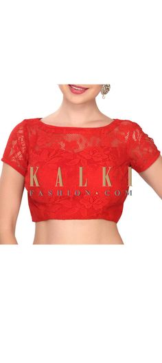 Buy this  stylish red lace blouse only on Kalki