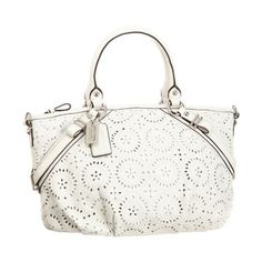 52c2f958aff9c Authentic Coach Parchment White Madison Laser-Cut Op Art Leather Sophia  Satchel Bag 16997 found