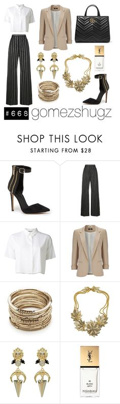 """""""nude, brown, gold, white, black"""" by gomezshugz ❤ liked on Polyvore featuring Bebe, Balenciaga, T By Alexander Wang, Wallis, Sole Society, Miriam Haskell, Claudia Baldazzi, Yves Saint Laurent and Gucci"""