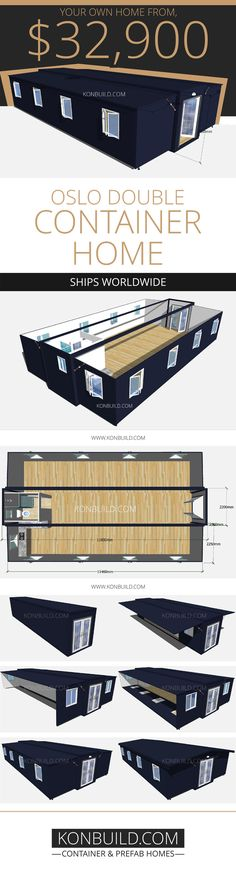 The Oslo Double, is double the size of the standard Oslo and Oslo Grand. Das Oslo Double ist doppelt so groß wie das Standard-Oslo und das Oslo Grand. Building A Container Home, Container Cabin, Container Buildings, Container Architecture, Cargo Container, Container Design, Contener House, Shipping Container House Plans, Size Of Shipping Container