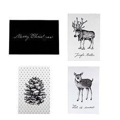 Bloomingville Christmas Card, White/Black, Set of 4 – Beaumonde