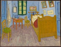 Bedroom in Arles (La Chambre à Arles), by Vincent Van Gogh. Ca. 1888. The painting depicts Van Gogh's bedroom at 2, Place Lamartine in Arles, Bouches-du-Rhône, France, known as his Yellow House. On VintPrint.com as a #poster. #painting #vangogh