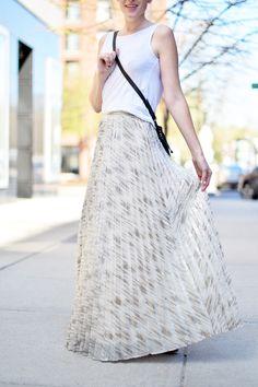 pleated metallic maxi skirt @anthropologie  - one brass fox