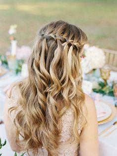 Latest Braided Half-Updo Hairstyles - Home Half Updo Hairstyles, Wedding Hairstyles For Long Hair, Bride Hairstyles, Bridesmaid Hairstyles, Medium Hair Styles, Short Hair Styles, Bun Styles, Braided Half Updo, Elegant Wedding Hair
