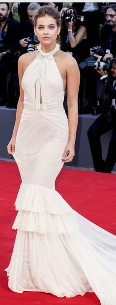 Who made Barbara Palvin's white gown?