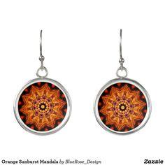 Orange Sunburst Mandala Earrings Christmas Card Holders, Colorful Backgrounds, Mandala, Perfume, Cosmetics, Drop Earrings, Orange, Silver, Accessories