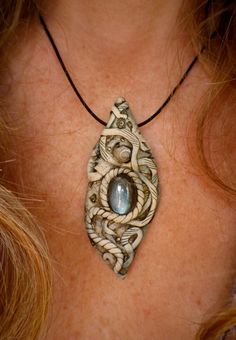 Small blue flash labradorite polymer clay pendant by nouveaushades, $34.00