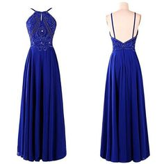 Charming Prom Dress, Royal Blue Prom Dresses, Open