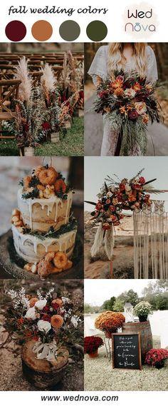 Wedding Color Pallet, Rustic Wedding Colors, Fall Wedding Colors, Wedding Color Schemes, Wedding Themes For Fall, Orange Wedding Decor, Fall Wedding Inspiration, Fall Wedding Drinks, Orange Wedding Colors