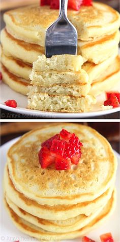 An easy recipe for the BEST light & fluffy classic buttermilk pancakes you'll ever eat!