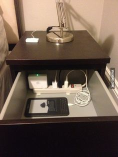 Put a power strip in the top drawer of your nightstand to organize / cut down on clutter