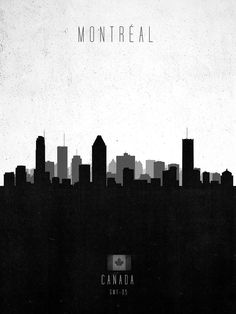 Montreal Contemporary Cityscape by Calm The Ham as Poster Tatoo Design, Meanwhile In Canada, Poster City, Skyline Design, Pub, Quebec City, Montreal Quebec, Creative Posters, Minimalist Poster
