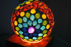 Mosaic Glass, Stained Glass, Mosaic Bowling Ball, Cube, Glasses, Crafts, Home Decor, Glass Ornaments, House Decorations