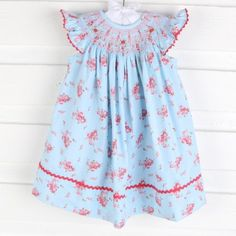 9e49f97519c Smocked Geometric Dress Light Blue Rose Bush