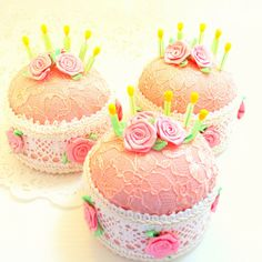 1 Pincushion needlecraft strawberry birthday cake pink white candle straight pins roses sweet 16 quinceanera TAGT