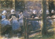 Stitching girls in front of a house wall by Max Liebermann