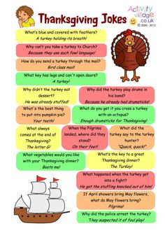 Thanksgiving jokes, also in printable booklet form. Would be fun for the students to take home for Thanksgiving Break!