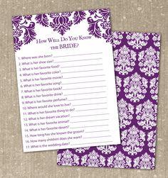 free printable bridal shower game, elegant bridal shower invitation, purple invitation, wedding invitation #purple, damask, elegant