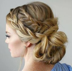two braids and low bun updo