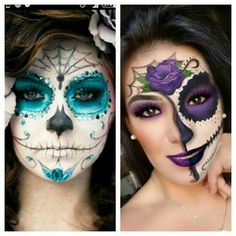 See related links to what you are looking for. Halloween Makeup Looks, Halloween Make Up, Halloween Ideas, Face Painting Designs, Body Painting, Candy Skull Makeup, Sugar Skull Face Paint, Undercut Hair Designs, Dead Makeup