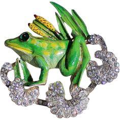 Vintage Coro Craft Sterling Enamel Frog Brooch
